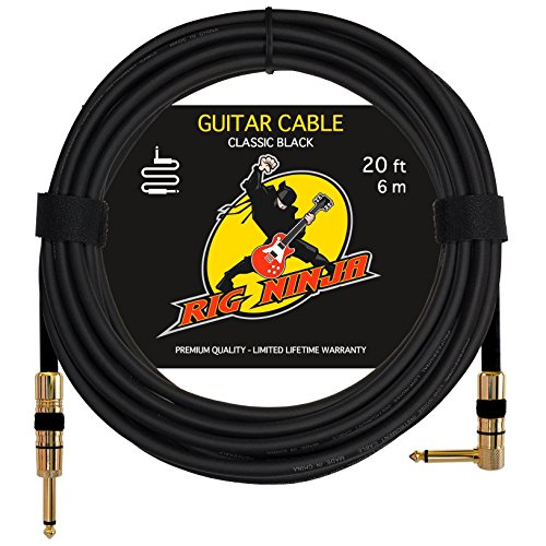 Rig Ninja Guitar Cable For Serious Musicians  20 Ft Electric Guitar Amp Cord For A Clean Tone To The Amplifier  Right Angle Instrument Cables  Great Signal Transmission  Low Noise Guitars   Bass Cords