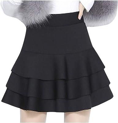 Womens High Waist Basic Solid Versatile Stretchy Flared Casual Mini Skater Skirt