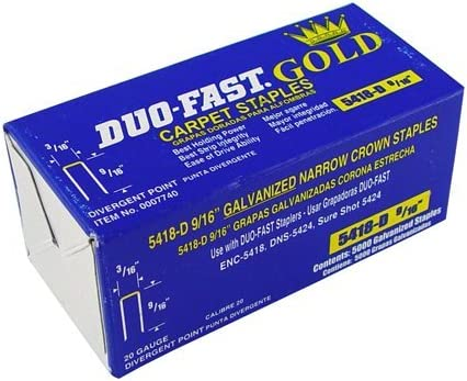 DUO-Fast 24 – 220 – 9/16-inch grapas para moqueta, con puntos divergentes, 5000-Pack, Modelo: 24 – 220, herramientas y Ferretería: Amazon.es: Jardín