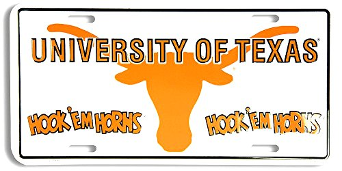 1 , UNIVERSITY of TEXAS , HOOK ' EM HORNS , Metal Tag, And , 1 , Chrome, Black Tribal Design Frame,+31A3.2+6B5.0+2353+