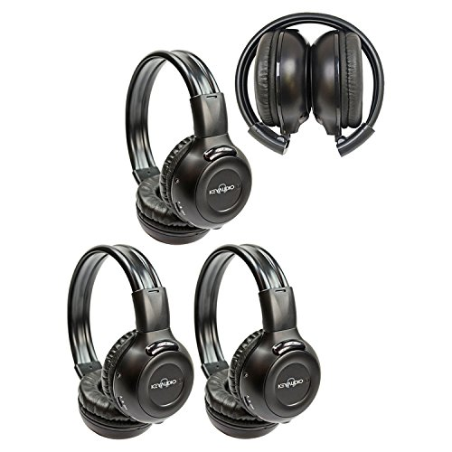 Three Pack of Two Channel Folding Adjustable Universal Rear Entertainment System Infrared Headphones With Three Additional 48
