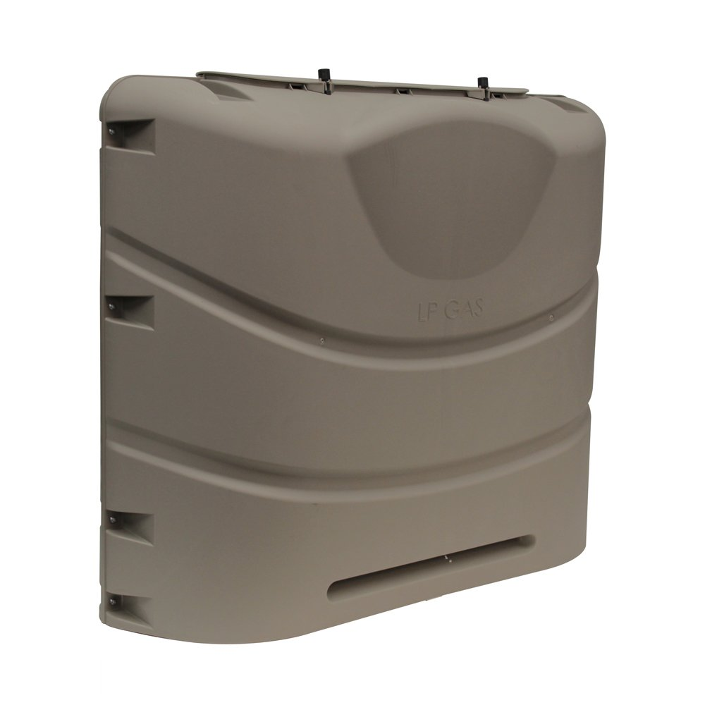 Camco 40531 Heavy-Duty 20lb or 30lb Dual Propane Tank Cover (Champagne)