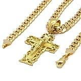 Mens 14k Gold Plated Cross Clover Jesus Hip-Hop Pendant 6mm Cuban Chain Necklace
