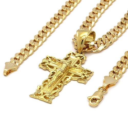 Mens 14k Gold Plated Cross Clover Jesus Hip-Hop Pendant 6mm Cuban Chain Necklace -