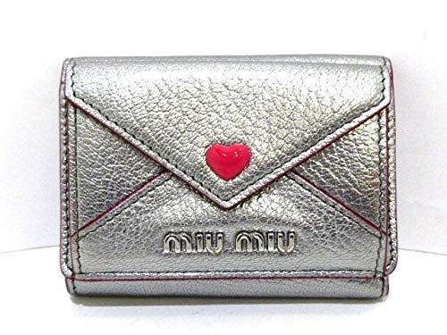 (ミュウミュウ)MIUMIU 3つ折り財布 マドラスラブ シルバー 5MH021 【中古】 B07RN4CZB6