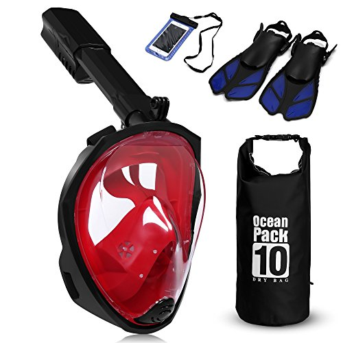 (180° Full Face Snorkel Mask Panoramic View + Extra Diving Fins Dry Bag Spray Anti-Fog, Anti-Leak , with longer Snorkeling Tube See More Larger Viewing Area Than Traditional Masks Compatible with GoPro)