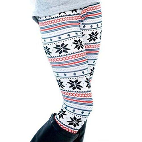 DREAGAL Womens Autumn Snowflake Graphic Printed Stretchy Leggings White X-Large