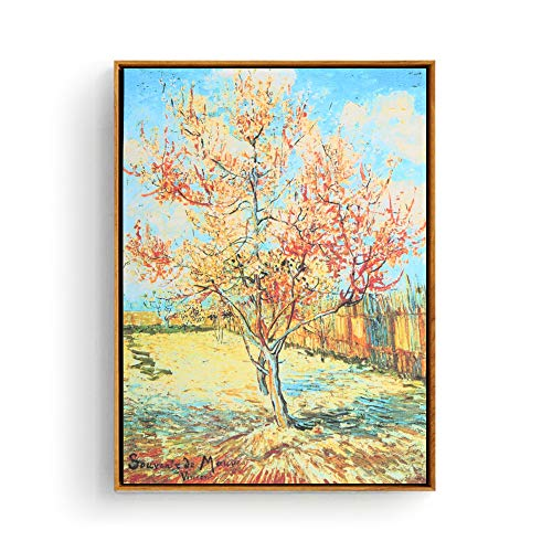 (Hepix Vincent Van Gogh Pink Peach Tree Wall Art, Canvas Print Famous Oil Painting Floral Nature Famous Wall Poster Classic Reproductions for Home Decor, 13x17inch (Framed))