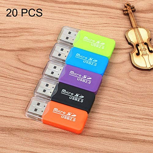 Random Color Delivery,Pocket Size up to 480Mbps Normal 20 PCS Portable USB 2.0 Micro SD TF T-Flash Card Reader Adapter Easy to Carry.