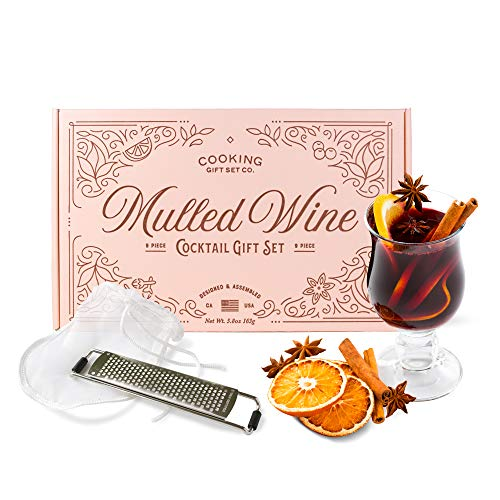 Cooking Gift Set | Mulled Wine Cocktail Kit ( 9 Piece ) Perfect New Wine Accessories for Birthday Gifts for Women, Housewarming Gifts, and Gift Baskets (Pink) (Best Grocery Store Chardonnay)