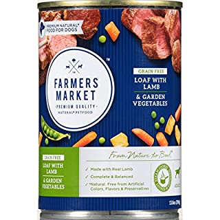 Farmers Market Pet Food Premium Natural Grain-Free Canned Wet Dog Food, 13.8 oz Can, Lamb & Garden Vegetable Loaf (Case of 12)