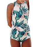 Women's One Piece Printed Sleeveless UV Protection Rash Guard Swimwear Beachwear