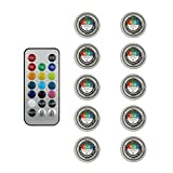 AUTOUTLET 10pcs RGB Submersible LED Lights 13 Colors Underwater Diving Light Waterproof Night Light with IR Remote Control for Wedding Party Vase Decor
