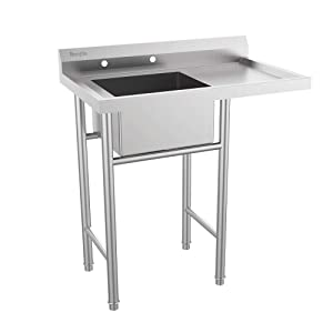 "Bonnlo Upgraded 304 Stainless Steel Utility Sink with Drainboard Commercial Sink for Laundry Room, Backyard, Garages - Inner Tub Size 18""L x 16"" W x 9""D"