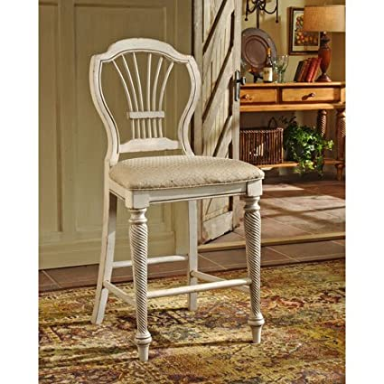 Amazoncom Hillsdale Wilshire White 24 Inch Counter Stool Set Of 2