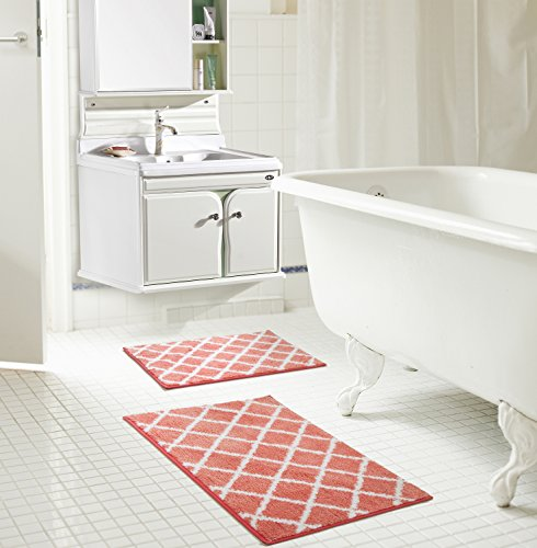 RT Designers Collection Chester 2-Piece Jacquard Microfiber Bath Mat Set in Coral
