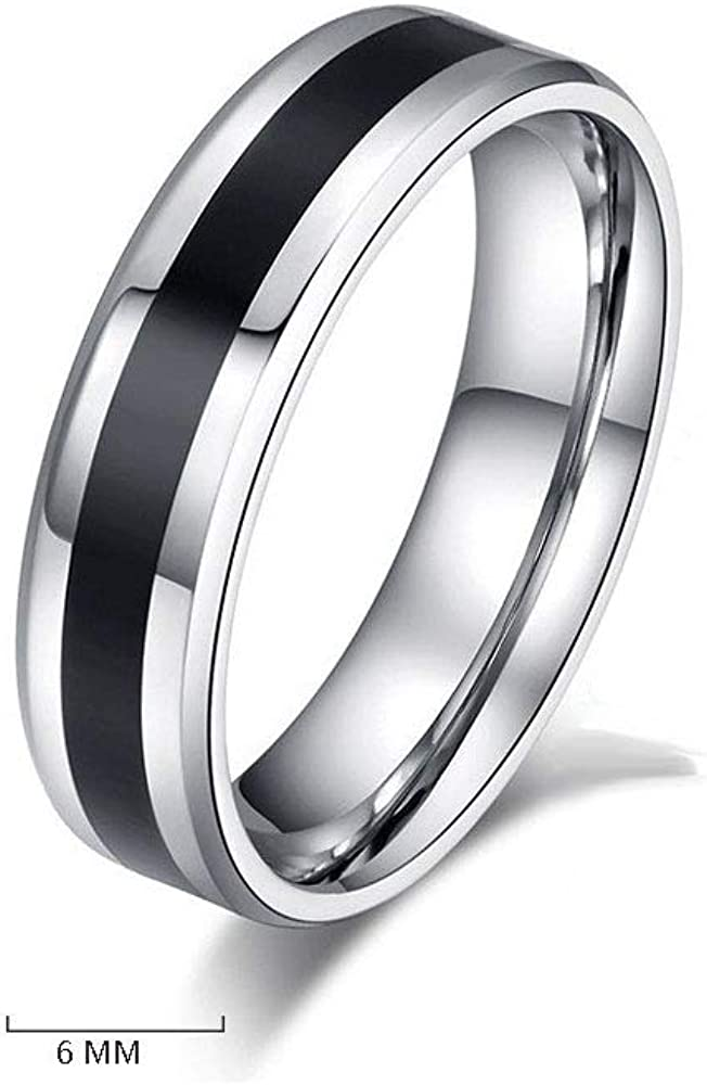 Stainless Steel Magic Glue Rings,Simple Two-tone Striped Rings for Boy Girls Lovers Gifts(6mm)