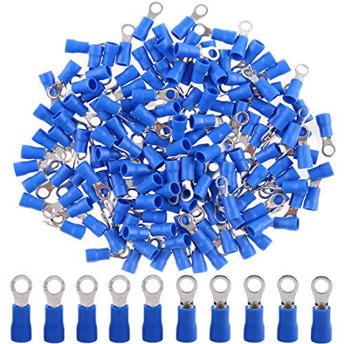 (Hilitchi 100Pcs 16-14AWG Insulated Terminals Ring Electrical Wire Crimp Connectors (Blue, M4))
