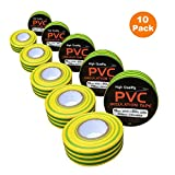 10 x Electrical Yellow / Green Earth PVC Insulation Tape 19mm x 20m Flame Retardant