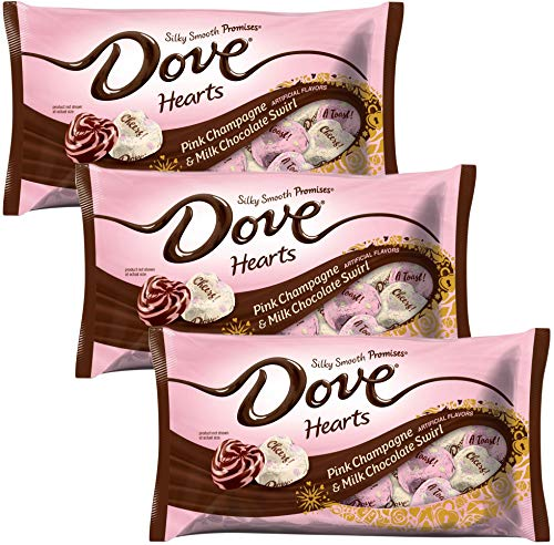 Dove Valentines Candy - Pink Champagne and Milk Chocolate Swirl Promises - Chocolate Valentines Day Candy - Valentine Candies For Home Parties Office School Work Valentines Day Exchange 7.94 oz ()