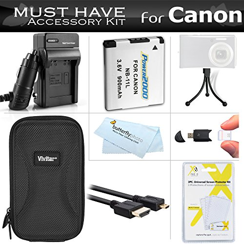 (Must Have Accessory Kit For Canon PowerShot ELPH 340 HS, ELPH 360 HS Digital Camera Includes Extended Replacement (900maH) NB-11L Battery + Ac/Dc Charger + Micro HDMI Cable + Case + Mini Tripod + More )