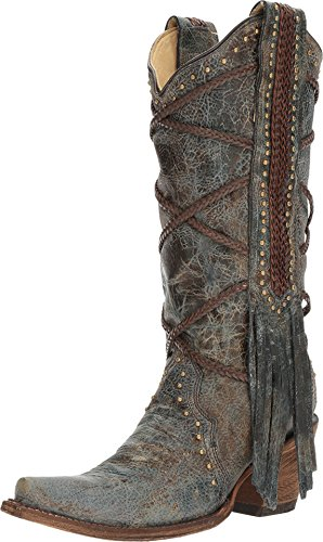 Corral Women's 13-inch Blue/Brown Braiding & Fringe Snip Toe Distressed Cowboy Boots,8 B(M) US (The Best Of To Catch A Predator)