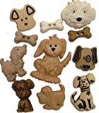 1 x Pack of 10 Novelty Craft Buttons, Dog Days, Dress it up, Button Fun, for Sewing, Scrapbooking, Embelishments, Crafts, Knitting,