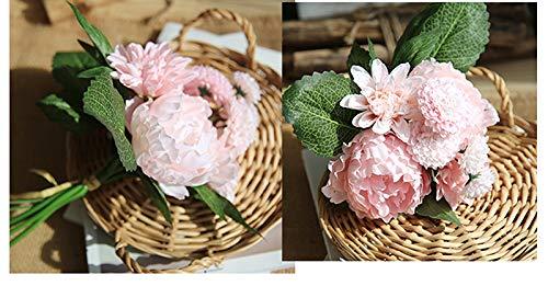 Amarillo Simulaci/ón de peon/ía lumanuby de c/írculos de tela Pake flores boda decoraci/ón para el hogar 35.5*9*19cm