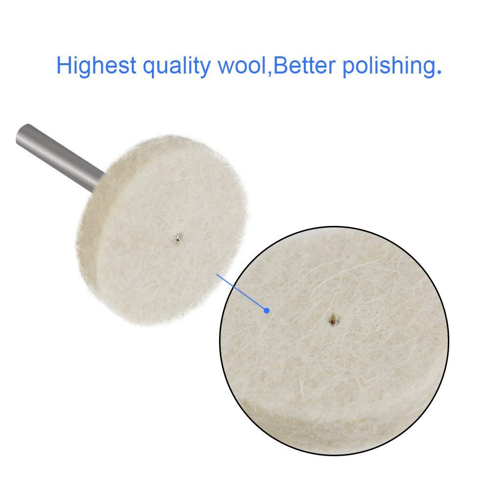 88 piezas Buff Clean Ruedas Multifuncional Fieltro Herramientas de pulido para Pl/ástico Metal Joyer/ía DECARETA Almohadilla de fieltro para pulir