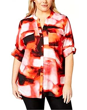 Calvin Klein Womens Plus Printed Adjustable Sleeves Button-Down Top
