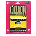 Sakura 30067 8-Piece Pigma Micron, Graphic & Brush Pen Set, Black