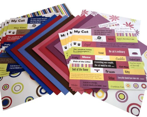 Scrapbook Sally 12-Inch by 12-Inch Kitty Cat Assorted Cardstock Pack