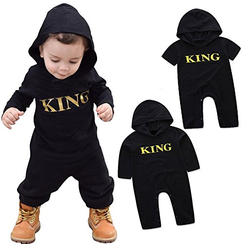 Newborn Baby Toddler Kid Boys King Printed Hooded Romper Bodysuit Outfit Jumpsuit O Neck Toddler Romper (70CM,Short -