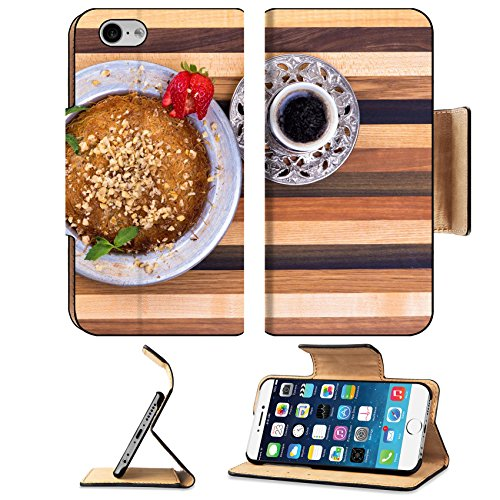 Luxlady Expensive Apple iPhone 6 iPhone 6S Flip Pu Leather Wallet Case IMAGE ID: 22259735 Turkish Dessert Kunefe on a multicolor woody cutting board with Turkish Coffee