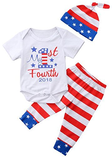 My 1st Fourth Outfits Baby Boys Girls Letters Print Romper +USA Flag Stripe Star Pants+Hat 3Pcs Set Size 6-12 Months/Tag90 (Red)
