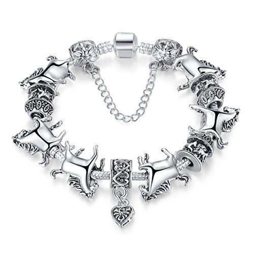 Bamoer New Arrival European Fashion Mustang Horse Vintage Silver Beads Heart Dangle Snake Chain Charm Bracelet for Women Girls 7.87 Inches Gift for Mother's Day -