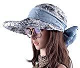 LOVEHATS Summer Beach Hats For Women Foldable Bow Wide Brim Visor Caps Anti-UV Sun With Neck Flap Hats Gray