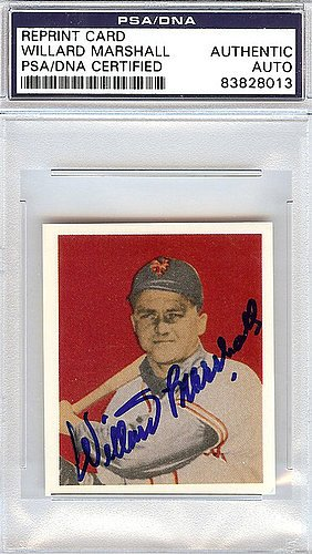 Willard Marshall Signed 1949 Bowman Reprint Trading Card #48 New York Giants - PSA/DNA Authentication - Autographed MLB Baseball Cards from Sports Collectibles Online