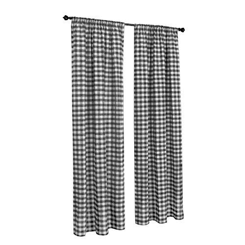 Plaid Window Curtain - Buffalo Checkered Country Plaid Gingham, Black and White, Window Treatment Curtain, 1 Inch Checks Print, Set of 2 Panels, 100% Polyester, Designer Quality, Hand Made in USA (56