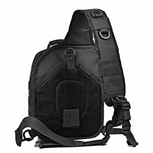 Tactical Sling Bag Pack Military Shoulder Sling Backpack Small Range Bag Pack Black