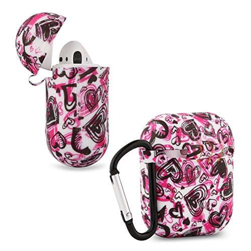 AirPods Silicone Case Cover/Protector Accessories - honecumi Airpods Charging Case with Keychain - Protective Skin/Cover for AirPods Case-Skin Case with Carabiner Hang Case Floral Colorful Case Cover (Apple Earpods Best Price)