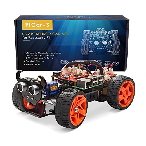 SunFounder Raspberry Pi Smart Robot Car Kit – PiCar-S Block Based Graphical Visual Programming Language Line Following Ultrasonic Sensor Light Following Module Electronic Toy with Detail Manual