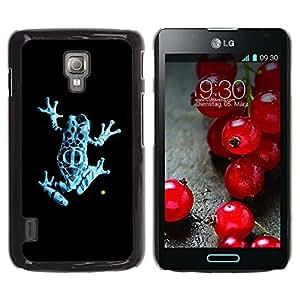 Be Good Phone Accessory // Dura Cáscara cubierta Protectora Caso Carcasa Funda de Protección para LG Optimus L7 II P710 / L7X P714 // Neon Blue Jungle Fringe Frog