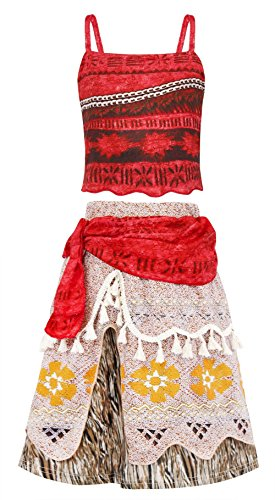 AmzBarley Moana Costume Adventure Outfit Cosplay Party Skirt Little Girls Dress Up Size 10 by AmzBarley