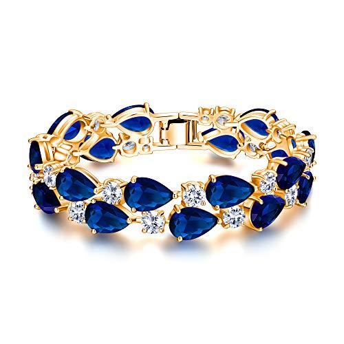(EVER FAITH Women's Glamour Blue Zircon Elegant Dual Layer Tear Drop September Birthstone Tennis Bracelet)