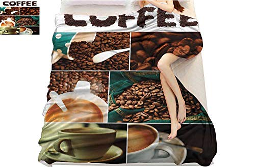 (lacencn Coffee, Throw Blanket, Photo Collage of Urban Coffee House Preparing The Drink Relaxing with a Cup of Joe, Couch Bed Blankets Mini Size, (W60 x L62 Inch Multicolor)