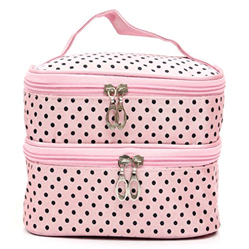 HappyDaily Beautiful and Multifunctional Double Layer Waterproof Makeup case or Cosmatic Bag or Travel Toiletry Pouch or Storage Bag for Women Girls with Inner Cosmetic Mirror (Pink Polka Dot)