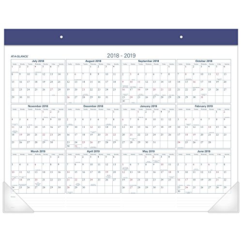 AT-A-GLANCE Academic Desk Pad Calendar, July 2017 - June 2018, 22
