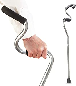Strong Arm Comfort Cane + Lightweight Adjustable Walking Cane + Stabilizes Wrist & Provides Extra Support & Stability + Ergonomic Hand & Forearm Grip + FSA/HSA Eligible (Titanium)