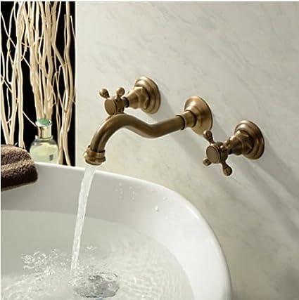 Rozin Antique Brass Bathroom Sink Tap Wall Mount Double Handle Basin